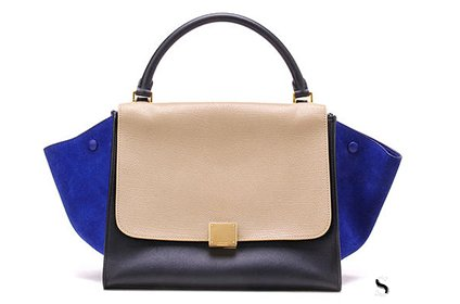赛琳蓝灰拼色二手包包回收几折